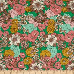 Joel Dewberry Bungalow Dainty Daisies Emerald from @fabricdotcom  Designed by Joel Dewberry for Free Spirit, this cotton print is perfect for quilting, apparel and home decor accents. Colors include orange, white, shades of green, shades of pink, and shades of brown.