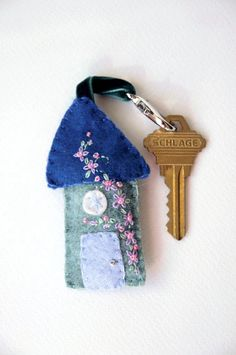 Handmade Wool Felt Key Chain Key Fob Felt House by PineHillForest