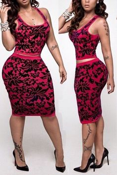 Sexy Women's Sleeveless U Neck Bodycon Crop Top Skirt Two Piece Set