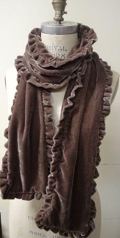 Velvet Scarf, silk velvet scarf, velvet ruffle scarf, velvet scarves, brown scarves, formal scarves. $45.00, via Etsy.