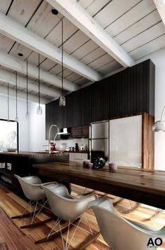 = black and wood kitchen