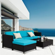 Shop for Kinbor Garden Furniture PE Rattan Wicker Sofa All-Weather Sectional Furniture Cushioned Deck Couch Set. Get free delivery at Overstock - Your Online Garden & Patio Shop! Get in rewards with Club O! Sectional Patio Furniture, Pool Furniture, Outdoor Garden Furniture, Furniture Sets, Sectional Sofa, Rattan Sofa, Cushions On Sofa, Pillows, Outdoor Sofa