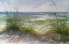 Port Sheldon Beach, 2 by Sandy Strohschein Watercolor ~ 12 x 16
