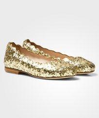 Chloé Gold Glitter Leather Ballerina Pumps 593