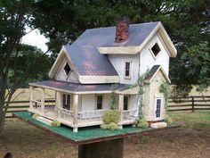 Primitive Birdhouses | large farmhouse birdhouse price $ 200 traditional barn birdhouse price