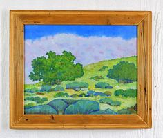 """Southwest landscape painting. 16"""" x 20 """" with a recycled wood frame by Robert Price. www.etsy.com/shop/robertpricegallery"""