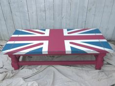 Painted Union Jack Vintage Solid Wood Coffee Table Hand Painted Chalk Paint Shabby Chic British Flag SOLD - Custom Order Available by RescueRestoreMI on Etsy