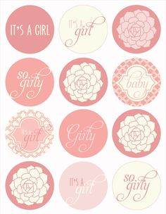 Vintage Pink Baby Shower PRINTABLE Party Circles by by lovetheday, $14.00
