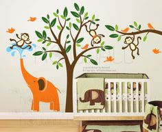 Tree Decal Monkeys & Elephant Fun Together Nursery decal