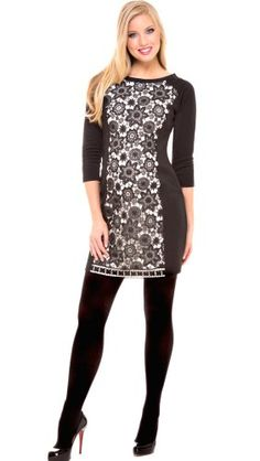 Olian Maternity Lace Panel Sheath Dress An ivory center panel with contrasting black lace adds a romantic element to this Ponte sheath dress for Fall 2013. Black Ponte with Ivory Ponte & lace center panel. Has invisible side zipper- Slim fit. Rayon/Nylon/Spandex-dry clean.  #Olian #Apparel