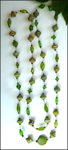 """Beaded Necklace - Upcycled Rolled Paper Beads and Glass Beads - Green - 49"""" Handcrafted Jewelry - Haiti by CaribbeanBoutique, $19.95"""