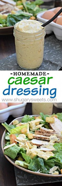 Four Kitchen Decorating Suggestions Which Can Be Cheap And Simple To Carry Out This Homemade Caesar Dressing Is Made With Hard Boiled Eggs No Raw Yolks Here. So Creamy And Delicious Ohiopoultry Salad Dressing Recipes, Salad Recipes, Salad Dressings, Salad Bar, Soup And Salad, Great Recipes, Favorite Recipes, Dinner Recipes, Hard Boiled