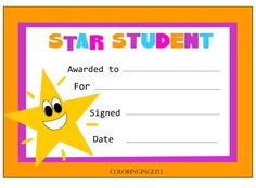 Visit the post for more. Free Certificate Templates, Printable Certificates, Award Certificates, Kids Awards, Student Awards, Baby Dedication Certificate, Star Of The Week, Award Template, Star Students