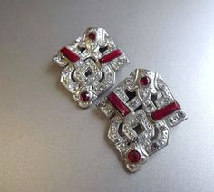 Dress Clips 2 Art Deco Red Bakelite and Rhinestone by STLvintage,