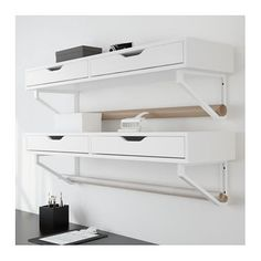 IKEA EKBY ALEX shelf with drawers Drawer stops prevent the drawers from being pulled out too far.