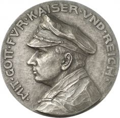Numismatic Collection of the National Museums in Berlin WITH GOD FOR KAISER VND REICH [Ü pointed]. Length portrait of a candidate's officer in uniform and military cap (Karl Menadier) to the left. On the right edge of the signature LOTTE / BENTER. Reverse Three women in handicrafts for warriors Samaritan services. Date 1914-1915