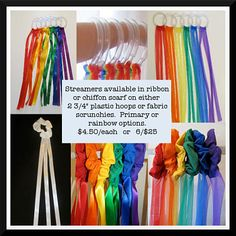 Creative Movement Streamers on hoop or wrist scrunchie with ribbon or chiffon scarves.  Set of 6 for $25 (includes drawstring storage bag)  or $4.50 each.