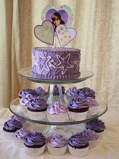 Justin Bieber purple cake and cupcakes