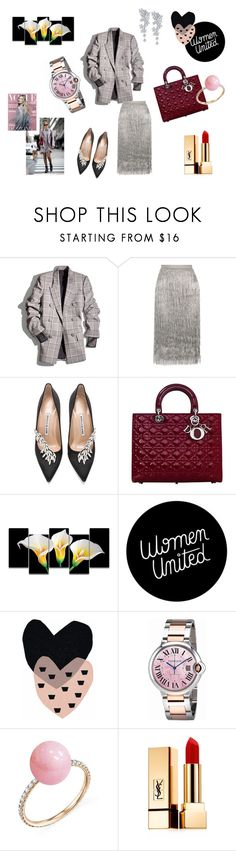 """""""Lady Dior"""" by maria-chamourlidou ❤ liked on Polyvore featuring Alexander Wang, Rachel Zoe, Manolo Blahnik, Christian Dior, Rick Owens Lilies, Seventy Tree, De Beers, Cartier, Irene Neuwirth and Yves Saint Laurent"""