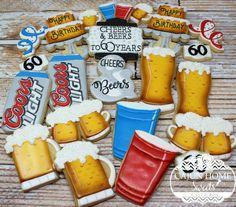 Cheers and Beers celebration. Beer Birthday Party, Cookie Cake Birthday, 21st Birthday, Beer Cookies, Cute Cookies, Cupcakes, Cupcake Cookies, Fondant Cookies, Summer Cookies