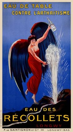 Eau des Recollets by Cappiello 1912 France - Beautiful Vintage Poster Reproductions. This vertical french poster advertising mineral water features a women in a red dress and green wings filling bottles with water from a spring fountain. Giclee Print