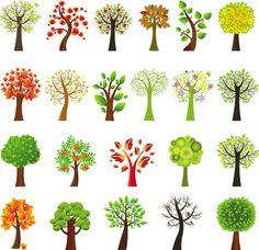 Vector stylized trees | Free Vector Stock illustrations, art, clip art, ai, eps, psd