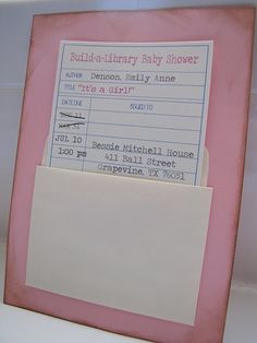 "Cute Baby Shower invitation ""library theme"""