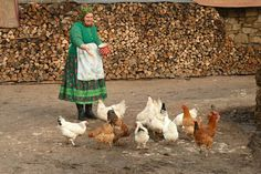"""My paternal grandmother had chickens too. At feeding time she was calling them using the appelative """"children"""". She was pronouncing the word fast and with no pause. So the result was like a little secret chant just between her and her chickens. City People, My Land, Hungary, The Past, Sculpture, Traditional, Homeland, Painting, Animals"""