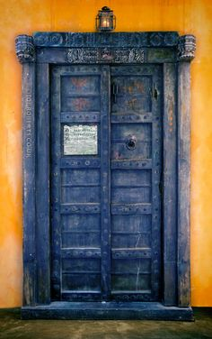 An old door, transformed via a coat of paint in photoshop.  Voila - instant TARDIS.