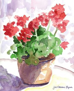 Items similar to Red Geranium Original Watercolor Painting on Etsy Watercolor Paintings For Beginners, Watercolor Pictures, Watercolor Projects, Watercolor Cards, Watercolor And Ink, Watercolor Illustration, Watercolor Flowers, Simple Watercolor, Red Geraniums