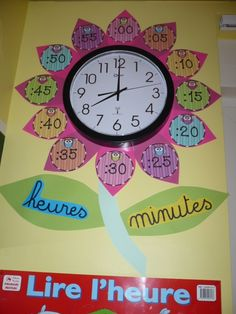 Teaching Time with Flower Petals French Teaching Resources, Teaching Time, Teaching French, Teaching Math, Maths, Teaching Spanish, Classroom Organisation, Classroom Design, Classroom Displays