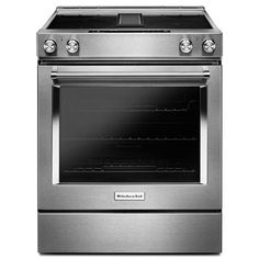 KitchenAid 30-in Smooth Surface 4-Element 6.4-cu ft Slide-in Convection Electric Range (Stainless Steel)