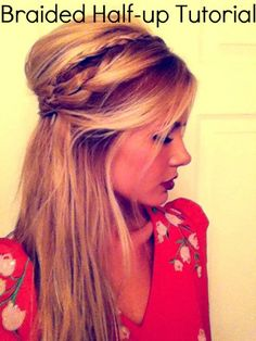 25 Gorgeous Half-Up, Half-Down Hairstyles. Braided Half Up This pretty style is a unique take on the braided half-up with a teased crown and 2 braids. Check out the video on Barefoot Blonde.