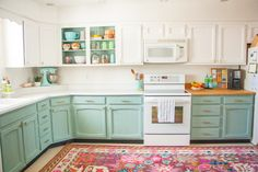 Before & After: A Bright, Affordable DIY Kitchen Update (this post contains affiliate links) I've waited a long time to write this post, and am thrilled to finally share about our DIY kitchen remodel! My husband and I live in a 1910 craftsman styl… Diy Kitchen Remodel, Kitchen Redo, New Kitchen, Vintage Kitchen, Kitchen Design, 1960s Kitchen, Kitchen Remodeling, Aqua Kitchen, Small Kitchen Makeovers