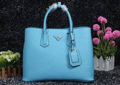 2014 Cheap Prada Saffiano Cuir leather tote skyblue,Prada bags 2014