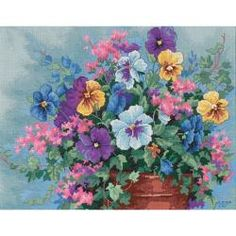 "Pansy Profusion No Count Cross Stitch Kit-14""X11"" 