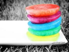 rainbow ice.   For bath, kiddie pool, or water table fun. The bigger the better because they will melt fast, want to use my jello molds for star and heart shapes.