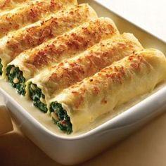 Receta de canelones de espinaca con queso ricota.