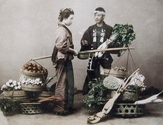 Selling vegetables. Hand-coloured photo, c. 1880-1900, Japan. Smithsonian Institution.
