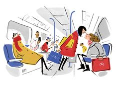 stephen collins, illustration, illustrator, editorial, publishing, typography, characters, witty, comical, funny, painterly, the guardian, magazine, newspaper, editorial, publishing, typography, train, tube, etiquette, argument