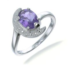 1.4 CT Purple Amethyst Ring in Sterling Silver (Available in Sizes 5 - 9) -