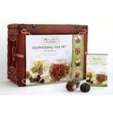 Numi Organic Tea Flowering Gift Set in Handcrafted Mahogany Bamboo Chest: Glass Teapot & 6 Flowering Tea Blossoms (Grocery)By Numi