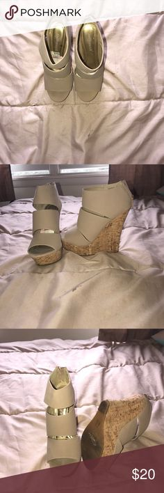 Wedges Dollhouse strappy  tan wedges Dollhouse Shoes Wedges
