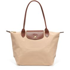 Le Pliage Large Nylon Shoulder Tote Bag, Beige - Longchamp ($145) ❤ liked on Polyvore featuring bags, handbags, tote bags, purses, fold over tote, zip top tote bag, longchamp tote, foldable tote bag and nylon tote