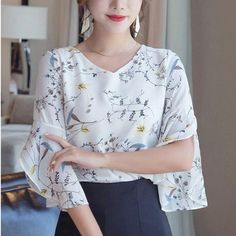 Summer Flower Print Casual Short Flare Sleeve V-Neck Blouses - Zaida Fashions Casual Shorts, Casual Outfits, Sequin Party Dress, V Neck Blouse, Short Tops, Flare, Cute Tops, Sleeve Styles, Blouses For Women