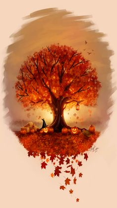 Autumn Art, Autumn Trees, Halloween Art, Holidays Halloween, Happy Halloween, Halloween Scene, Halloween Pumpkins, Maple Tree Tattoos, Tattoo Tree