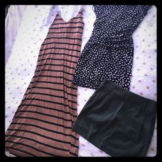 F21 size Large bundle 2 dresses 1 skirt 3 items for the price of 1! This bundle includes a light brown maxi dress with black stripes, adjustable spaghetti straps! A stretchy short black dress with tan spots, and a olive green skirt with zip closure (belt not included). Trying to clean out my closet! Forever 21 Dresses