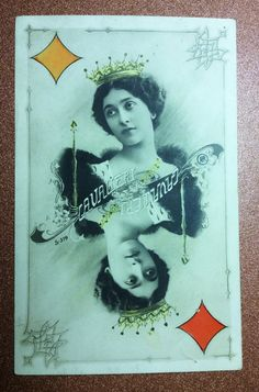 Antique Old postcard 1900s Playing card Queen от PostcardWatchUSSR