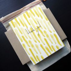 Yellow Thank You Watercolor Notecard Set by FierceMally on Etsy, $15.00