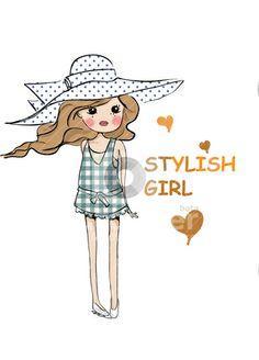 Style cute illustration girl